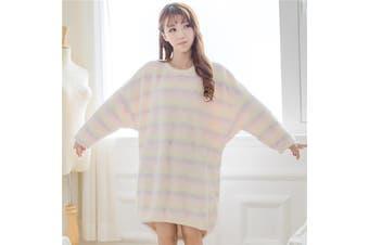 Soft Kawaii Rainbow Fluffy Oversized Long Sweater Dress Pajamas Women