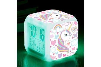 Cute Cartoon Mini Cube Unicorn Alarm Clock Colour Changing Night Light NP20