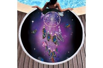 Boho Butterfly Dreamcatcher Beach Towel Round Yoga Mat Blanket