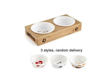 Ceramic or Stainless Steel Pet Feeding Bowls with Bamboo Stand