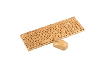 2.4G Wireless Bamboo PC Computer Keyboard and Mouse Combo