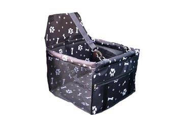 Black Footprint Pet Dog Cat Waterproof Carrier Bag Car Seat Pad 45x30x25cm