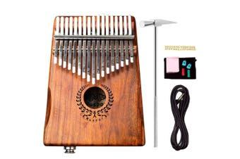 17 Keys EQ Kalimba Mbira Calimba Solid Acacia Thumb Piano Link Speaker Electric Pickup with Bag +3 M Cable