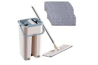 Microfibre Mop with Long Handle and Cleaning and Drying Bucket