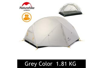 Grey Naturehike Dome Camping Tent 2 Person Silicone Fabric Double Layers Rainproof