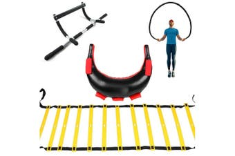Crossfit Fitness Kit - Chin Up Bar, Skipping Rope, Weights, Agility Ladder set pack