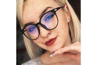 Women Glasses Frame Men Anti Blue Light Eyeglasses Frame Vintage Round Clear Lens Glasses Optical Spectacle Frame - Bright Black