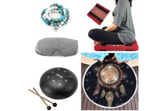 Meditation Relax and Revive Kit Yoga Towel Stone Steel Tongue Drum Cushion Pack