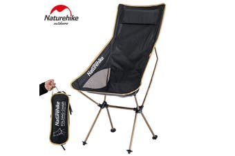 Black and Gold Camp Chair Ultralight Collapsible Camping Moon Chair with Bag