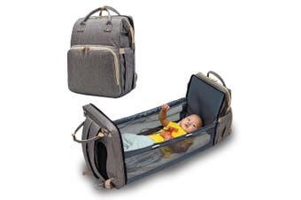 Gray Convertible Nappy Bag Baby Backpack Lightweight Travel Multi-Purpose Storage Bag Crib