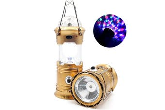 Gold 3-in-1 LED Solar Camping Lantern Disco Light Torch Portable Flashlight