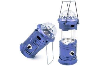 Blue 3-in-1 LED Solar Camping Lantern Disco Light Torch Portable Flashlight