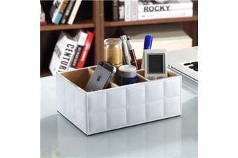 Black or White Storage Box PU Leather Desk Organiser Remote Control Holder