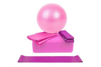 5pc Yoga Pilates Set Home Fitness Workout Gym Ball Yoga Block Strap Resistance Band - Australia