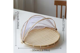 Dustproof Basket Bamboo Fly Cover Outdoor Picnic Food Cover - Round