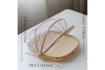 Dustproof Basket Bamboo Fly Cover Outdoor Picnic Food Cover - Square