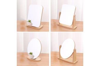 Wood Table Mirror Elegant Nordic Makeup Mirror - Rotating Square