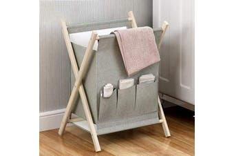 Wooden Laundry Basket Hamper Bathroom Storage