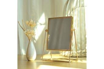 Golden Makeup Mirror Home Decor Desktop Table Mirror - Rectangle