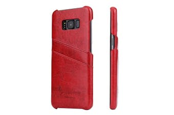 For Samsung S8 Plus Red Deluxe Leather Flip Wallet Phone Case,Shockproof Case