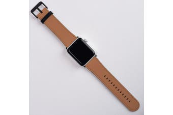 For Apple Watch Band (38mm) Series 1, 2, 3 & 4 Vegan Leather Strap, iWatch Brown