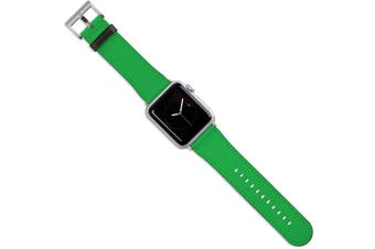 For Apple Watch Band (40 38mm) Vegan Leather Strap Silver Buckle iWatch Green