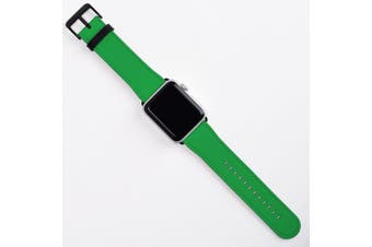 For Apple Watch Band (40 38mm) Vegan Leather Strap Black Buckle iWatch Green