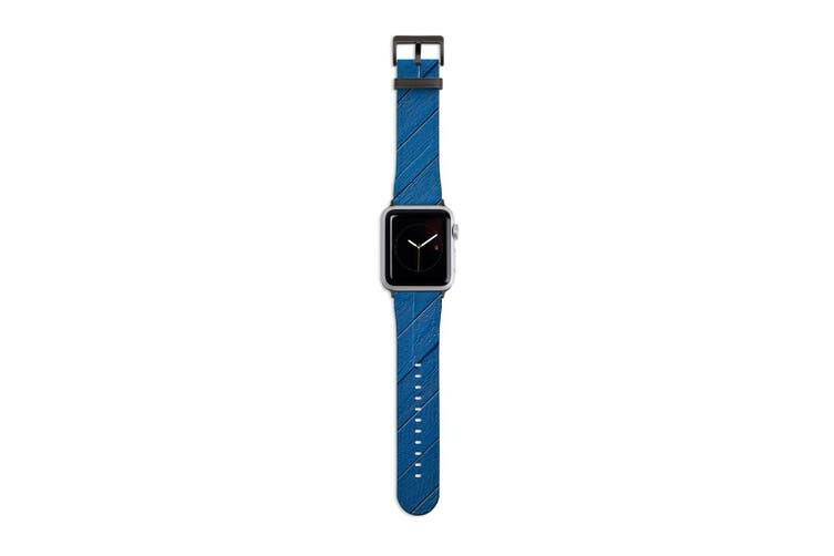 For Apple Watch Band 40mm/38mm PU Leather Black Lugs  Blue Wood Cladding