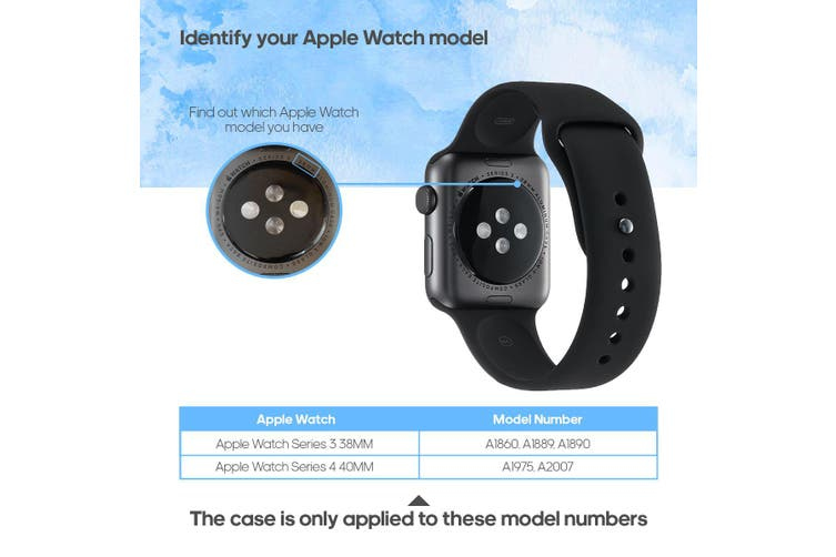 For Apple Watch Band 40mm/38mm PU Leather Black Lugs  White Water River