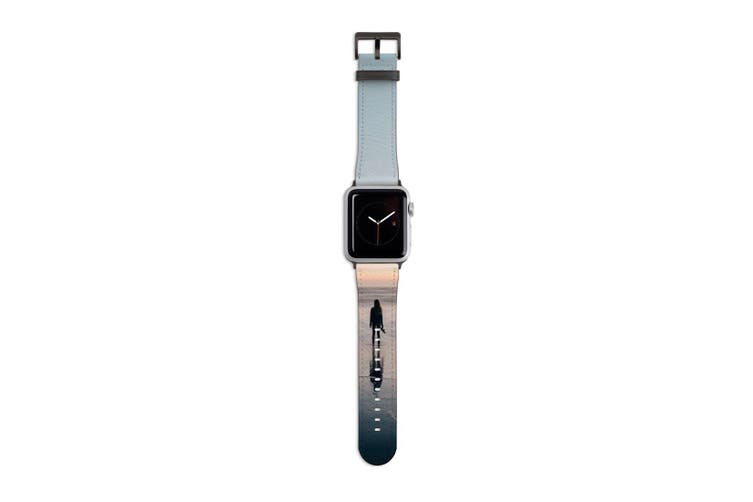 For Apple Watch Band 40mm/38mm PU Leather Black Lugs  Ocean Dreaming