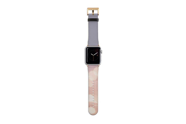 For Apple Watch Band 40mm/38mm PU Leather Gold Lugs  Fireflies