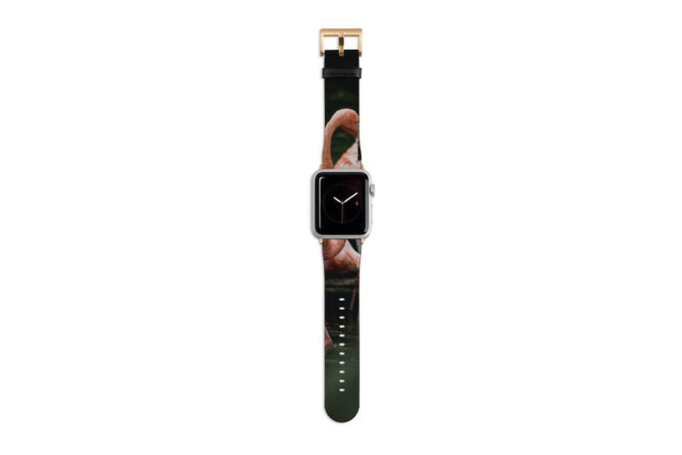 For Apple Watch Band 40mm/38mm PU Leather Gold Lugs  Flamingo In Pond