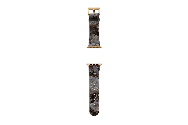 For Apple Watch Band 40mm/38mm PU Leather Gold Lugs  Frozen Forest Leaves