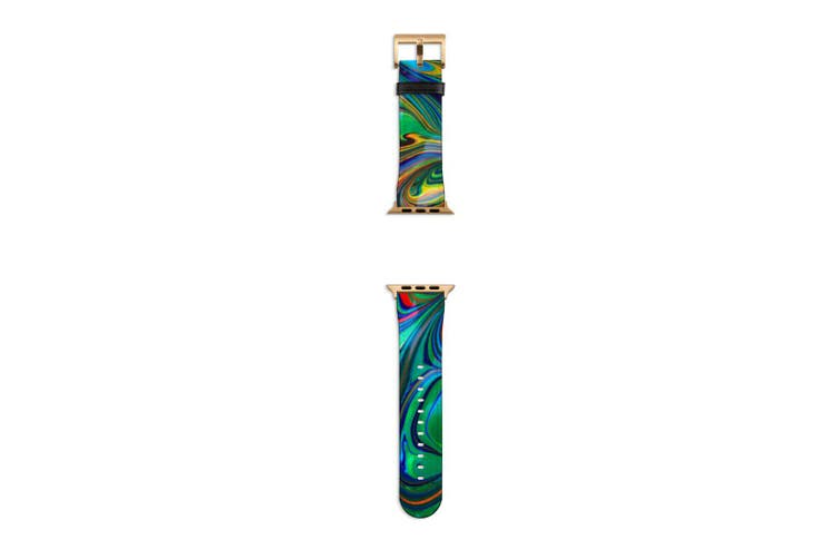 For Apple Watch Band 40mm/38mm PU Leather Gold Lugs  Green Flowing Rainbow