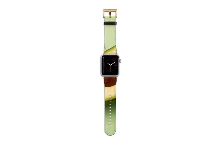 For Apple Watch Band 40mm/38mm PU Leather Gold Lugs  Half An Avocado