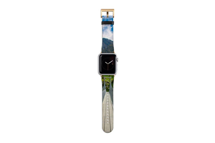 For Apple Watch Band 40mm/38mm PU Leather Gold Lugs  Hanging Bridge