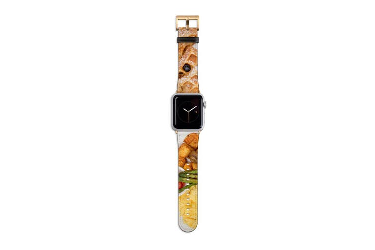 For Apple Watch Band 40mm/38mm PU Leather Gold Lugs  Hotel Breakfast