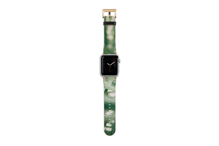 For Apple Watch Band 40mm/38mm PU Leather Gold Lugs  Indoor Green Plant