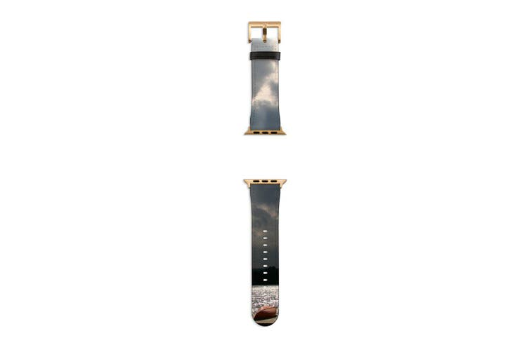 For Apple Watch Band 40mm/38mm PU Leather Gold Lugs  Kayaks Dock
