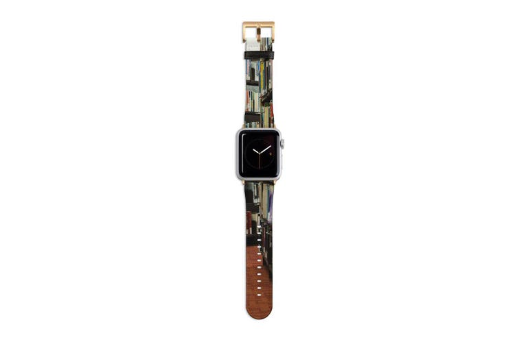 For Apple Watch Band 40mm/38mm PU Leather Gold Lugs  Library Books