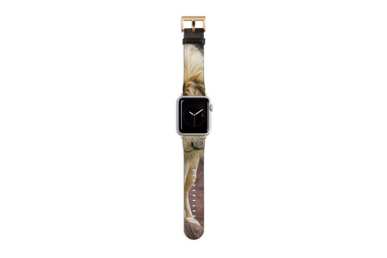 For Apple Watch Band 40mm/38mm PU Leather Gold Lugs  Lion Looking Down
