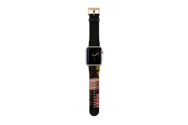 For Apple Watch Band 40mm/38mm PU Leather Gold Lugs  Macaron Pyramid
