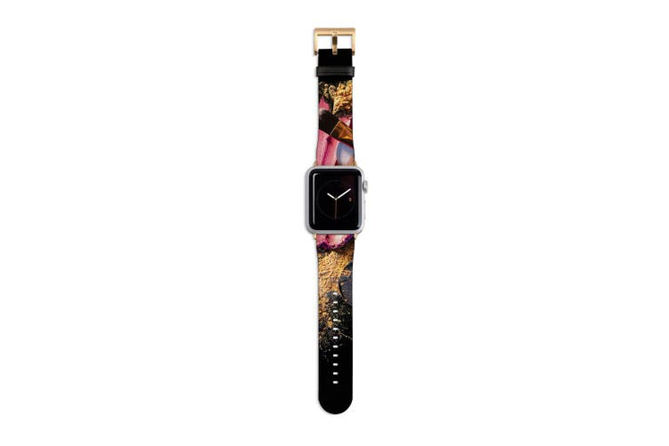 For Apple Watch Band 40mm/38mm PU Leather Gold Lugs  Makeup n Brushes