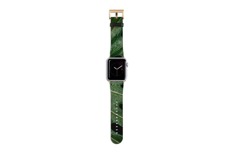 For Apple Watch Band 40mm/38mm PU Leather Gold Lugs  Monstrera Leaf