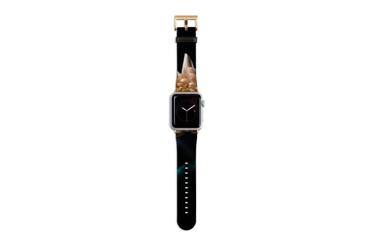 For Apple Watch Band 40mm/38mm PU Leather Gold Lugs  Peach Flower In Dark