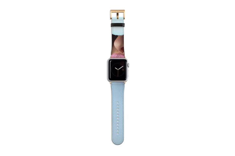For Apple Watch Band 40mm/38mm PU Leather Gold Lugs  Pink Lips