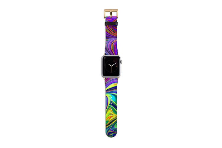 For Apple Watch Band 40mm/38mm PU Leather Gold Lugs  Purple Flowing Rainbow