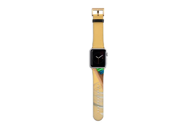 For Apple Watch Band 40mm/38mm PU Leather Gold Lugs  Rainbow Toothbrush