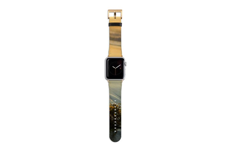 For Apple Watch Band 40mm/38mm PU Leather Gold Lugs  Seaweed Sunset