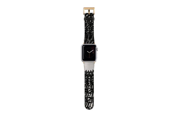 For Apple Watch Band 40mm/38mm PU Leather Gold Lugs  Wrought Iron Dome